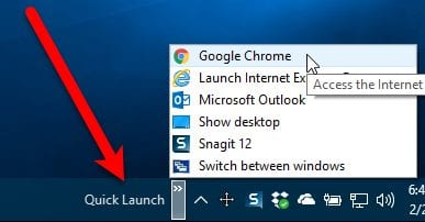 Get the XP Quick Launch Bar in Windows 10