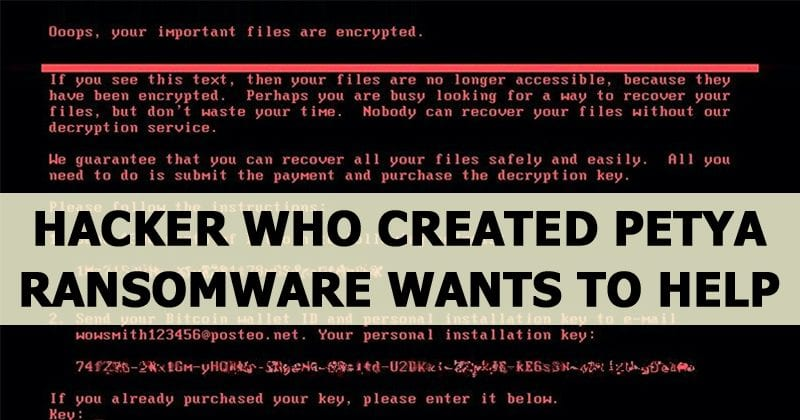 Hacker Who Created Petya Ransomware Wants To Help