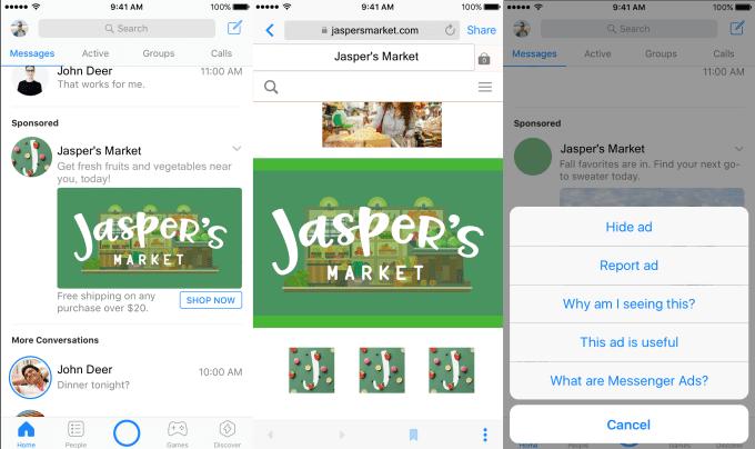 facebook messenger ad hide - Facebook Starts Displaying Sponsored Ads In Its Messenger App