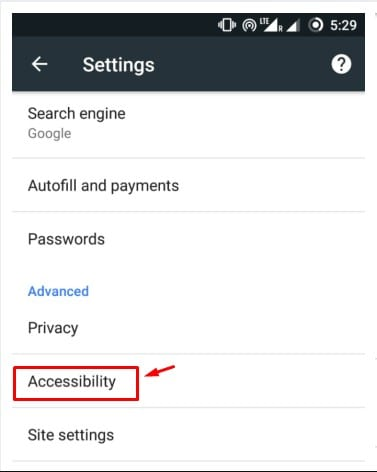 Using Chrome's Accessibility Settings