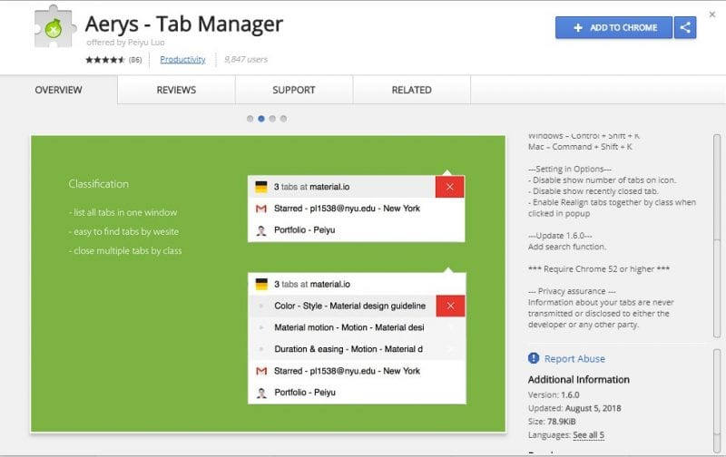 Aerys - Tab Manager