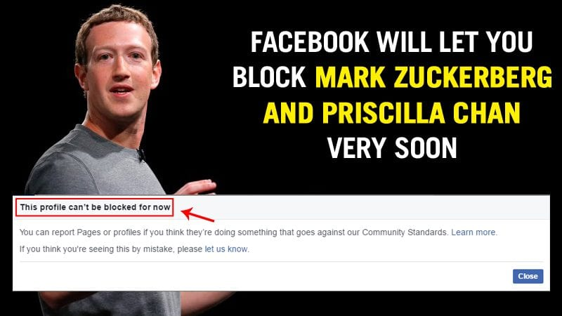 Facebook Will Fix Issue That Stops You From Blocking Mark Zuckerberg