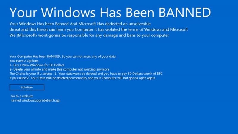 Ransomware - Your Windows is Banned: This New Ransomware Scam Is Demanding $50 In Bitcoin