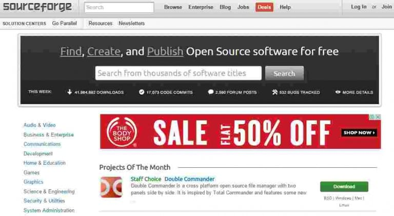 Sourceforge - pc software free download