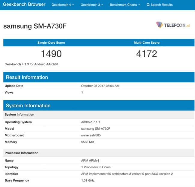 Geekbench - Samsung Galaxy A7 (2019) With Exynos 7885 SoC, 6GB RAM Spotted Online