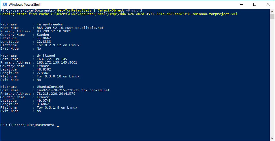 1 Tor Relay Data List A Specific Number Of Relays - Querying Tor Metrics With Powershell