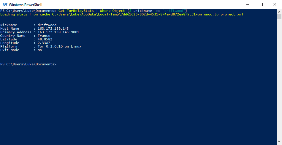 2 Tor Relay Data Finding Specific Relay - Querying Tor Metrics With Powershell