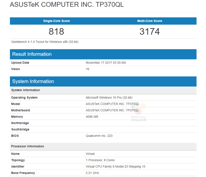 IMG 1 7 - Benchmarks For ASUS Laptop Powered By ARM And Windows 10 Leaked