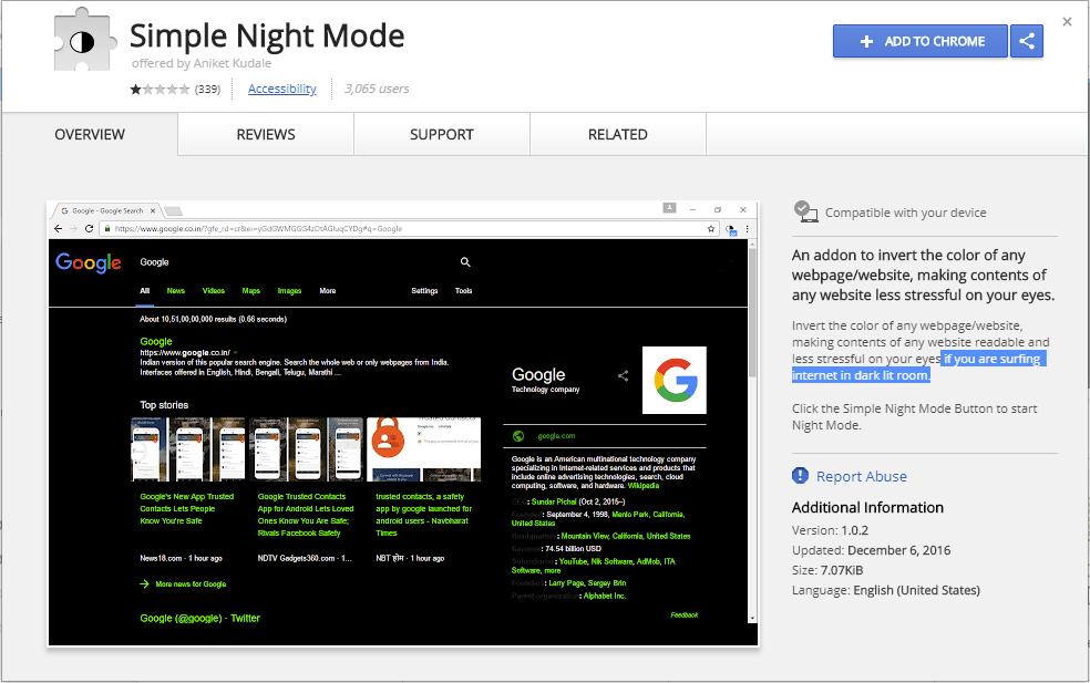 Simple Night Mode