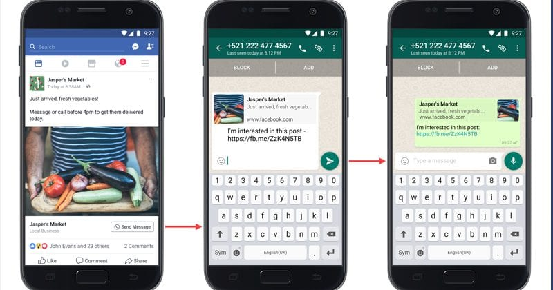 Facebook Introduces Click-To-WhatsApp Button On Facebook Ads