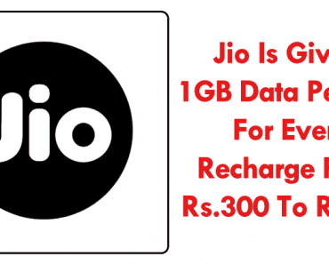 Jio Is Giving 1GB Data Per Day For Every Recharge From Rs.300 To Rs.500