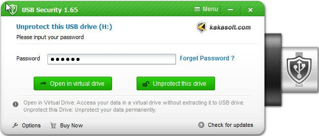 Using Kakasoft USB Security