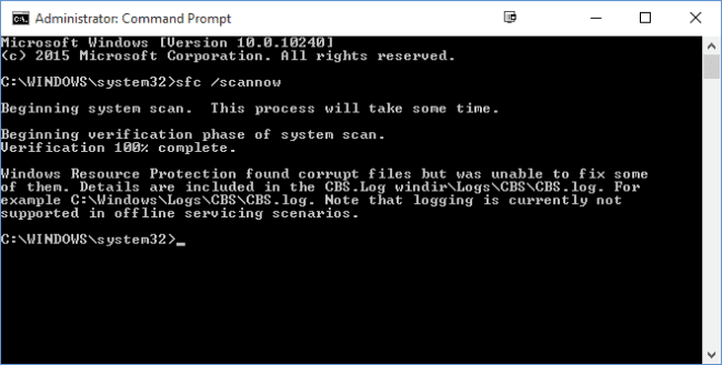 If you get an error, restart the PC with safe mode and enter the SFC command again