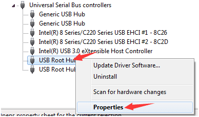 Right-click on the USB Root Hub option and then select Properties