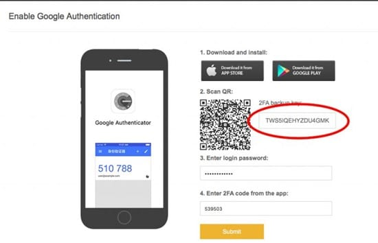 Enable Google Authenticator for Withdrawals