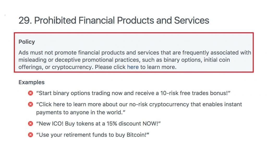 IMG 1 13 1024x607 - Facebook Bans All Ads For Bitcoin, ICOs, And Other Cryptocurrencies