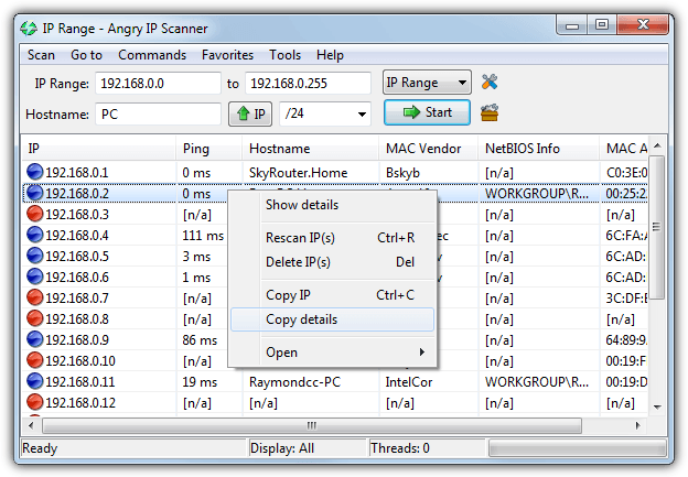 Using Angry IP Scanner