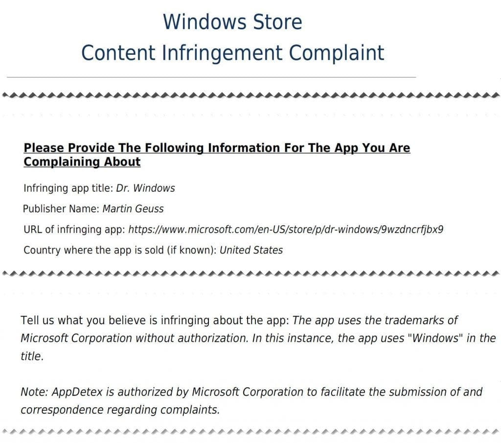IMG 1 9 1024x906 - You Can't Name Your App 'Windows', Microsoft Sends Legal Notices To Developers