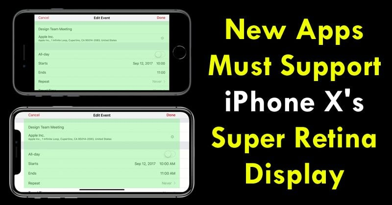 Apple: New iOS Apps Must Support iPhone X's Super Retina Display
