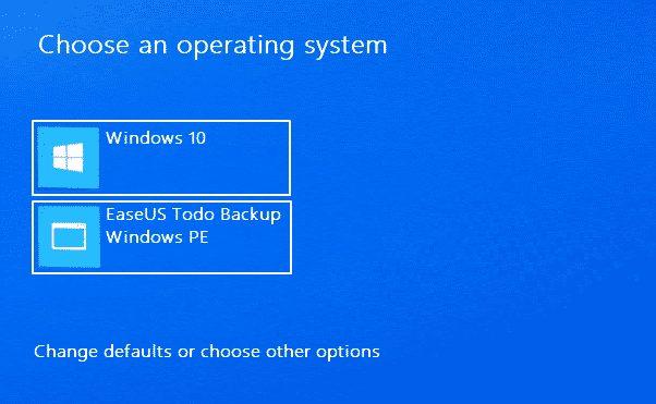 Select 'EaseUS Todo Backup'