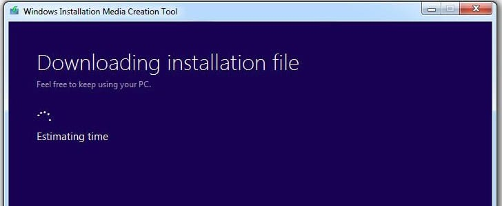 Wait until the Media Creation Tool downloads the Windows 8.1 ISO file