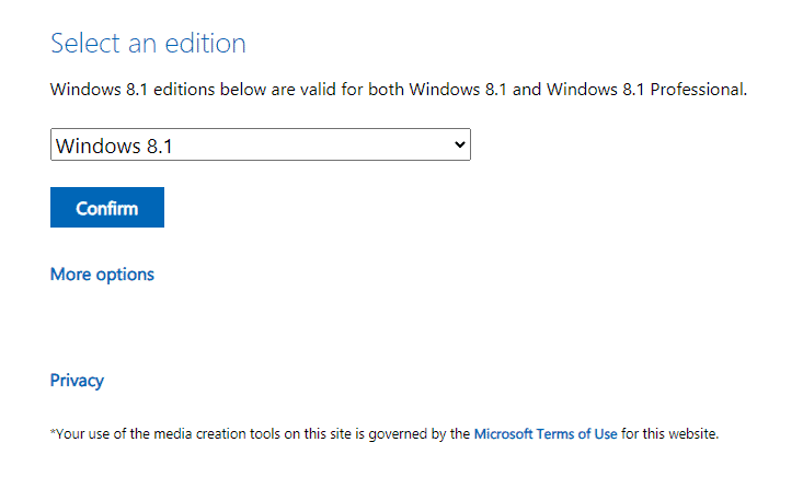 Download the Windows 8.1 Media Creation tool