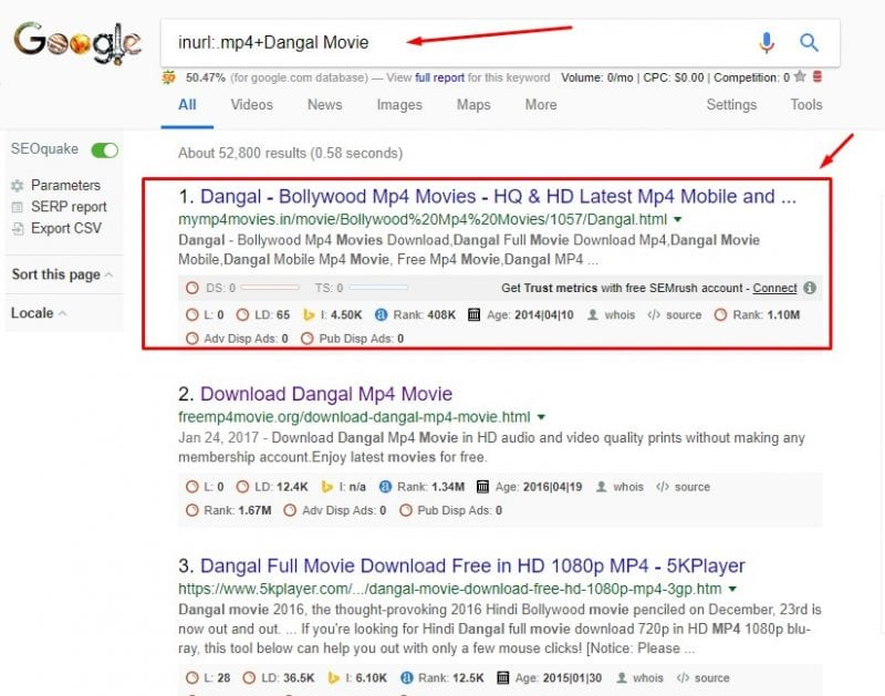 Search for Movie names along with an extension on the URL