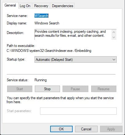 Using Windows Services Settings