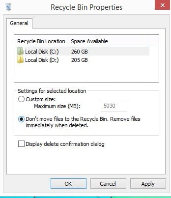 How To Disable Recycle Bin From Windows