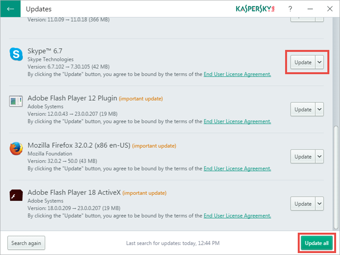 Using Kaspersky Software Updater