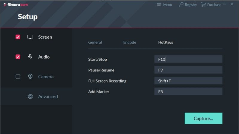 advanced settings - Filmora Scrn Review: Simple and Easy to Use Screen Recorder