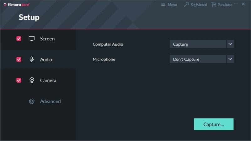 audio capture setup filmorascrn - Filmora Scrn Review: Simple and Easy to Use Screen Recorder