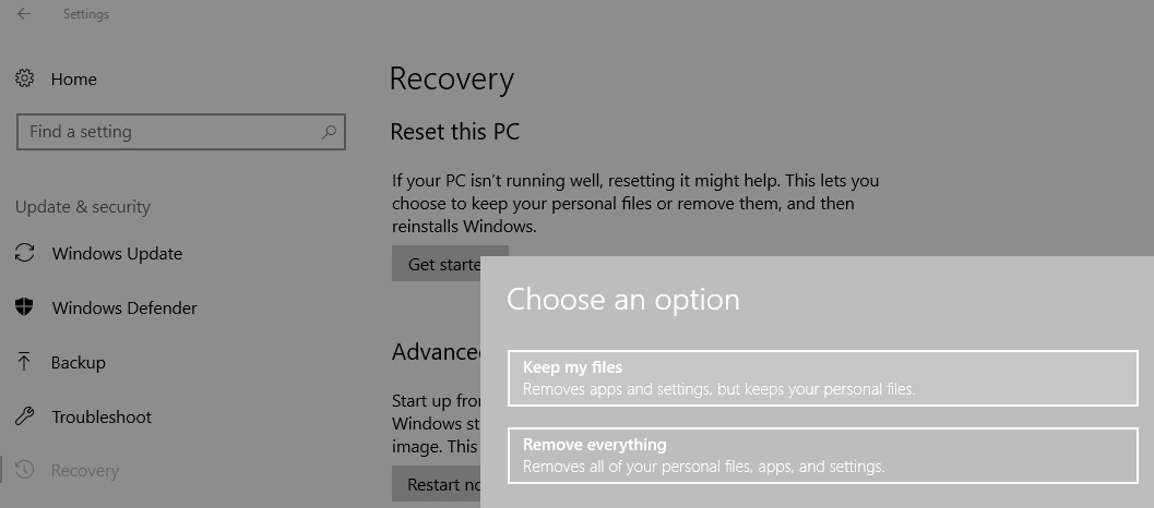 Reset Your PC