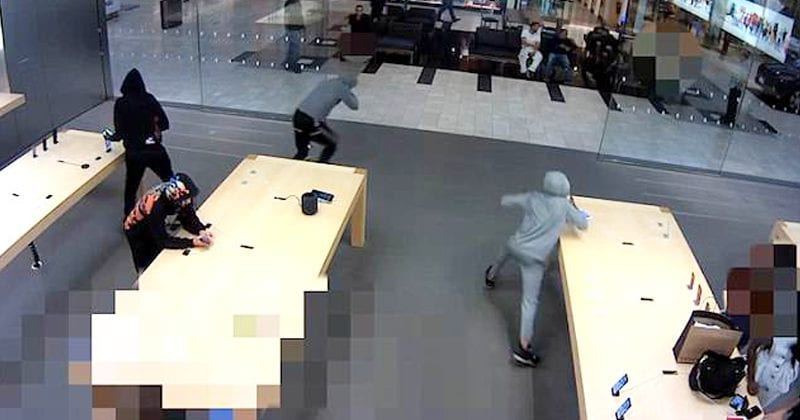VIDEO: 5 Thieves Snatches $19,000 Of iPhones From Apple Store