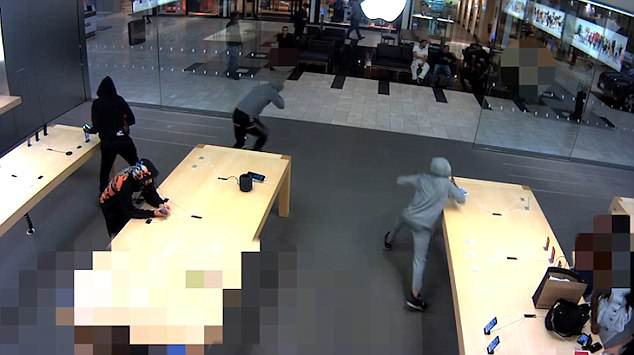 IMG 3 - VIDEO: 5 Thieves Snatches $19,000 Of iPhones From Apple Store
