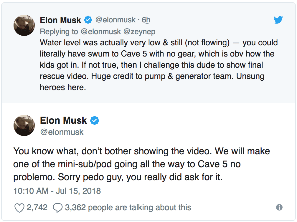 IMG 7 - Elon Musk Calls Thai Cave Rescuer A 'Pedophile' In Twitter Outburst