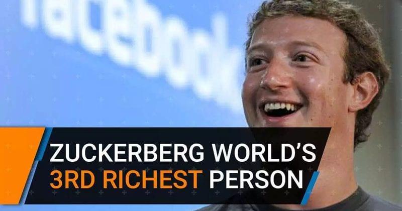 Mark Zuckerberg Is Now World's Third-Richest Person