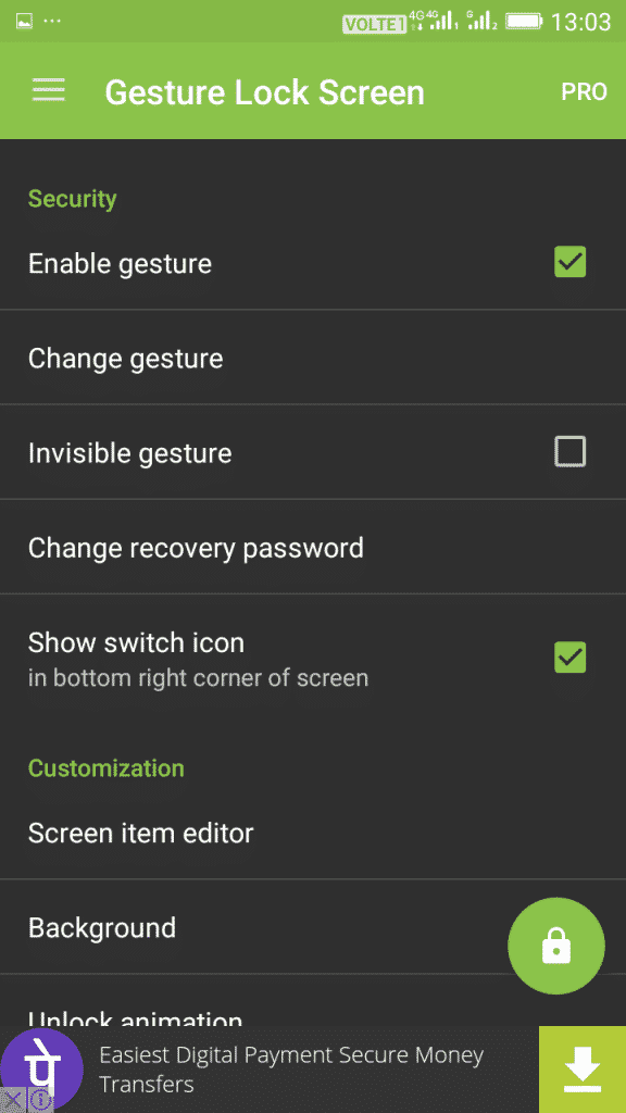 Using Gesture Lock Screen