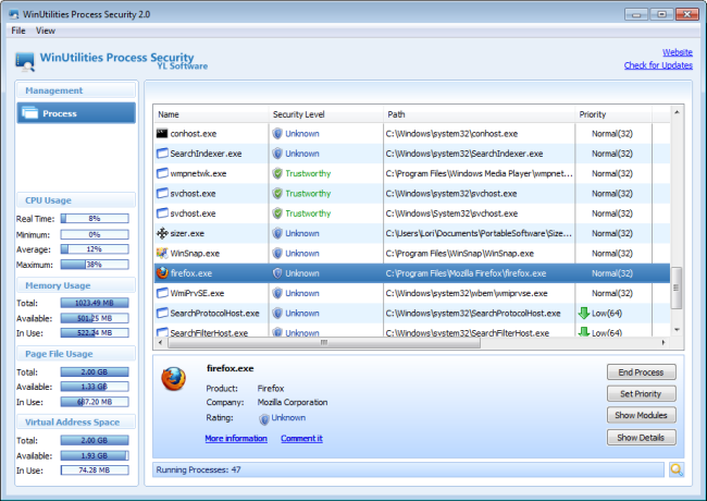 WinUtilities Process Security - 10 Powerful Alternatives To The Windows Task Manager