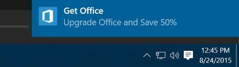 Disable 'Get Office' Notifications
