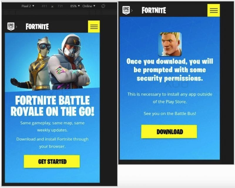 Fortnite for Android reminds users to be safe, and to block installation from unknown sources