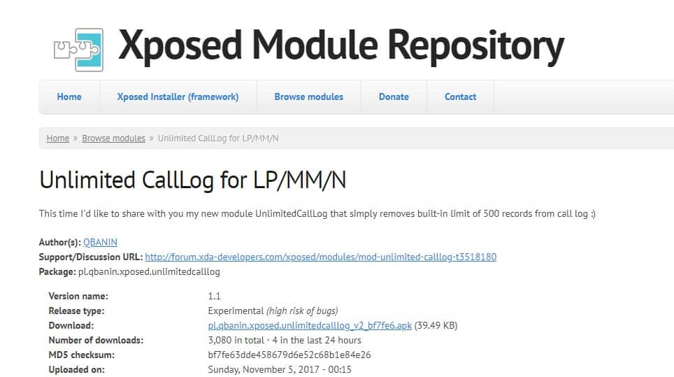 Unlimited CallLog for LP/MM module