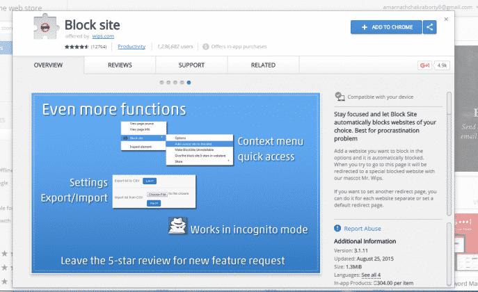 Using Block Site Chrome Extension