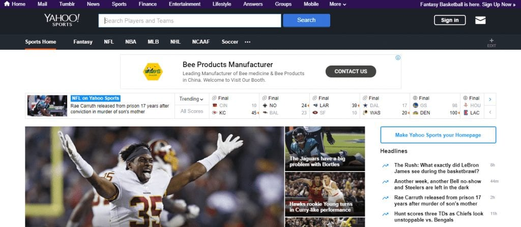 Yahoo!  Des sports