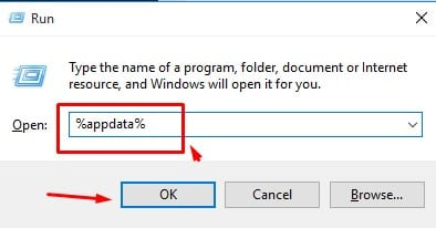 Type '%appdata%' on the RUN Dialog box