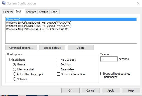 Under the Boot options, select 'Safe Boot' and then on 'Apply'