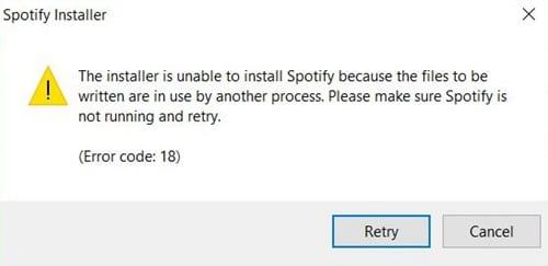 Spotify Error Code 18