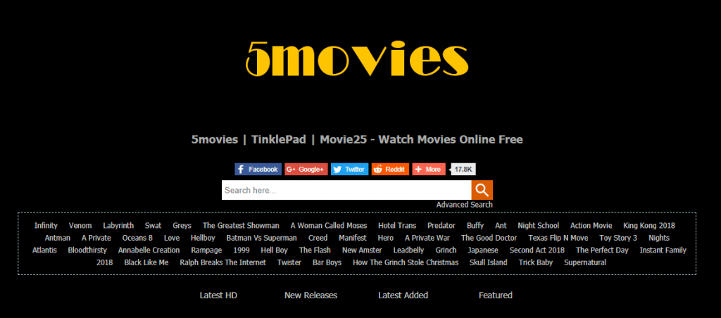 5movies 1024x452 - 15+ Best 123Movies Alternatives To Watch Movies For Free
