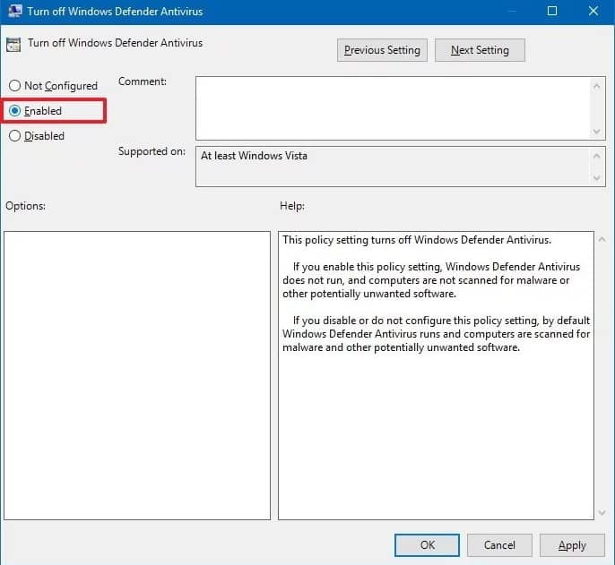 Disable Windows Defender From Local GroupPolicy