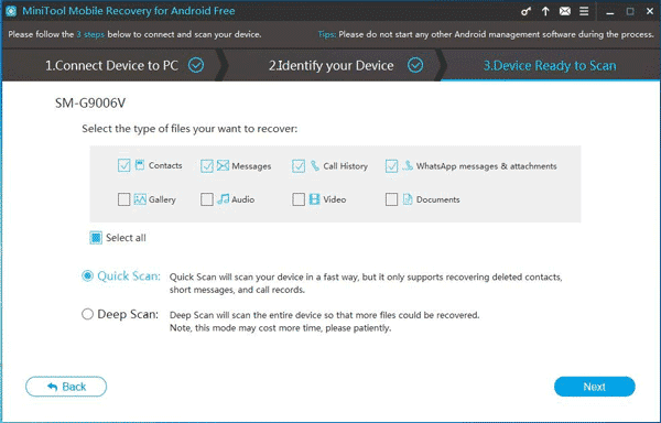 Select the option 'Quick Scan'